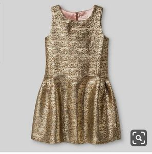 Girl's gold brocade dress gown 4 5 10 12 14 16